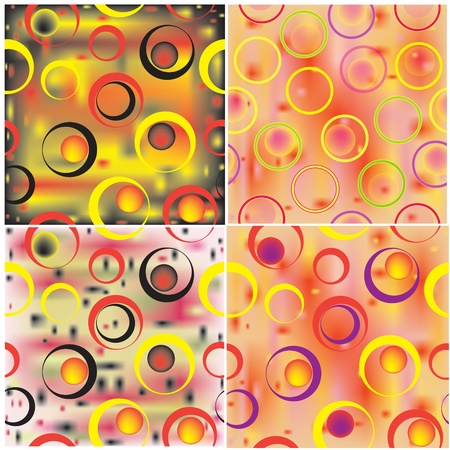 Set of four geometric modern seamless patterns with circles Stock Vector - 9837713