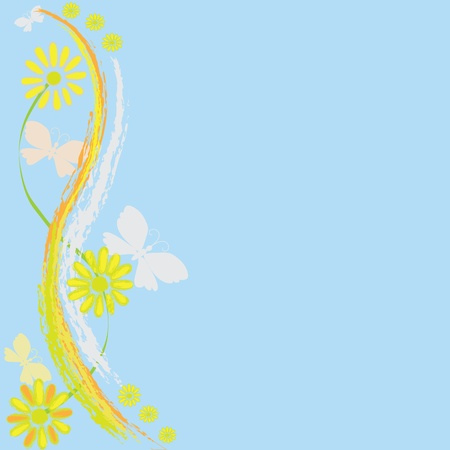 Blue background with abstract chamomile and butterfly Illustration