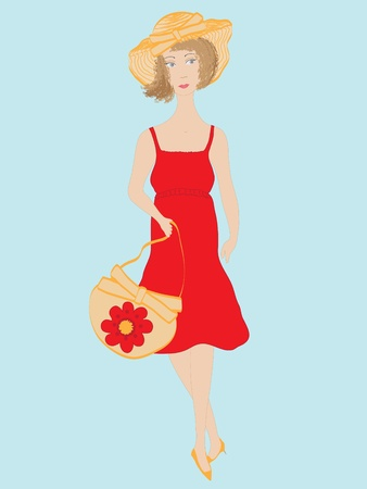sundress: Woman with stylish hat and bag Illustration