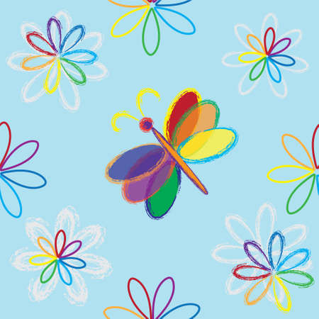 Rainbow abstract floral seamless composition with butterfly Vector