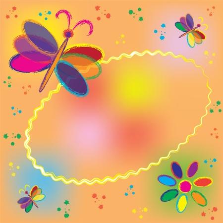 Carte d'invitation de forme ovale avec des papillons et les éclaboussures colorées arc Banque d'images - 10002217