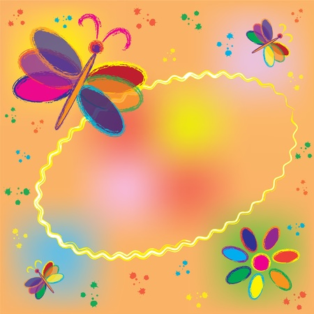 Invitation oval card with rainbow butterflies and colorful splash  Illustration