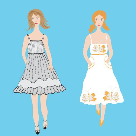 Two fashion girls in sundress Vector