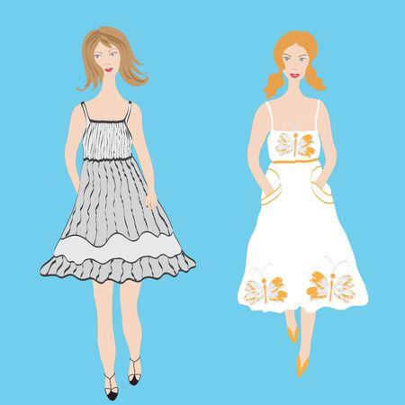 sundress:  Two fashion girls in sundress