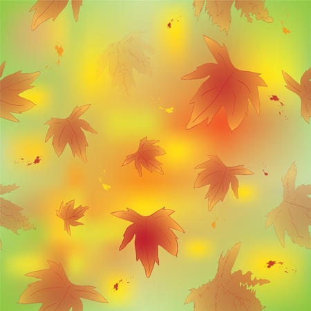 Seamless autumnal colorful pattern with leaves and birds Illustration