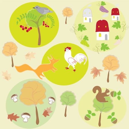 Seamless autumnal background with animals, trees, fruits and houses Vector
