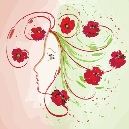 Girl profile with poppies on watercolour background Vector