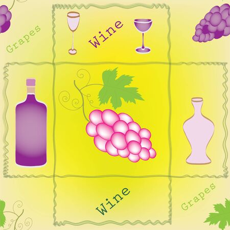 Seamless pattern with grapes, bottles,goblets and decorative frame Vector