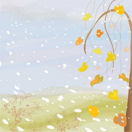 Autumnal landscape with cloudy sky, tree, leafs,snowfall and dry flowers Vector