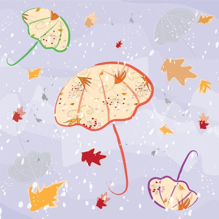 Colorful umbrellas on violet watercolour autumnal background Stock Vector - 10403851