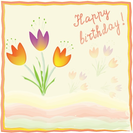 Greeting birthday card in watercolor design Illustration