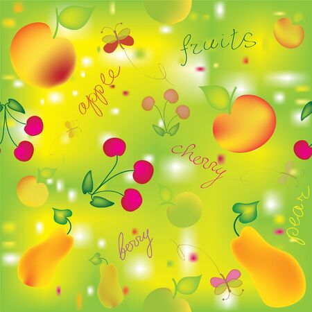 Seamless colorful pattern with fruits Vector