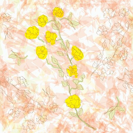 Seamless floral pattern on grunge watercolor background Vector