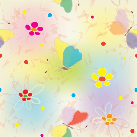 Rainbow seamless pattern with butterflies, flowers and blots Vector