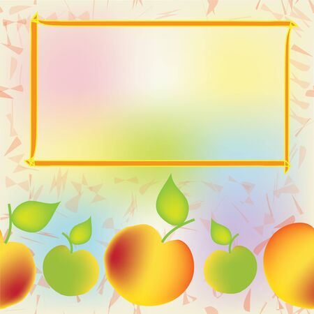 apple border: Seamless colorful composition with information frame and apples Illustration