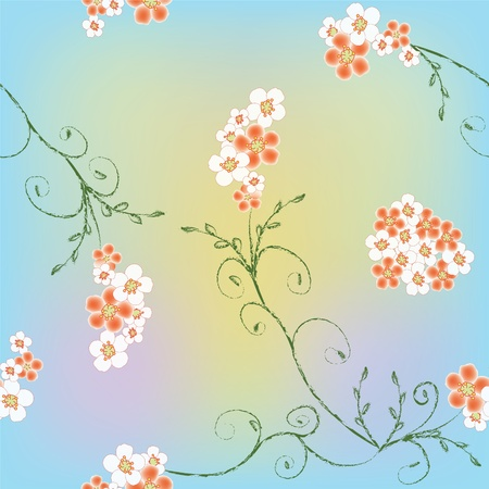 Seamless floral pattern on colorful background Vector