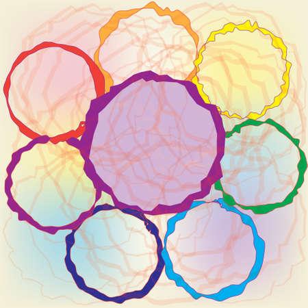 rainbow stripe: Set of grunge colorful circles for web design