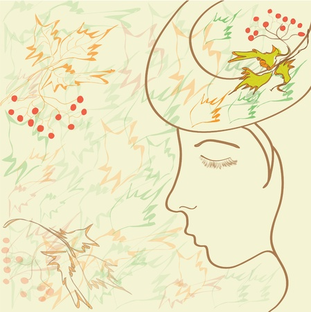 Girl profile with hat in autumnal design Vector