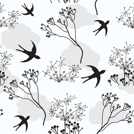 withering: Seamless pattern with swallows and dry flowers
