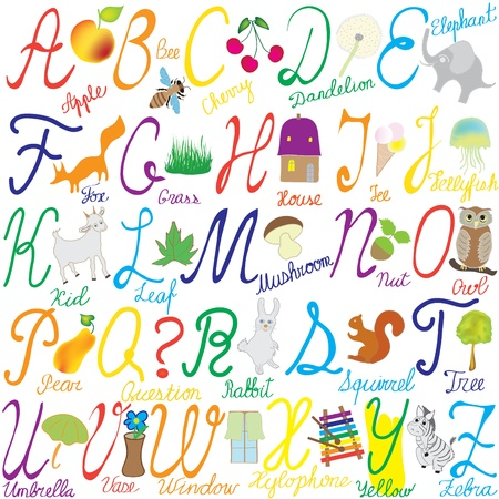 letter alphabet pictures: Alphabet with letters, words and pictures Illustration