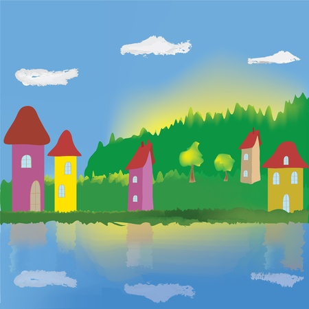 Cartoon landscape with lake, houses, trees, forest, sky, clouds and sunrise Vector