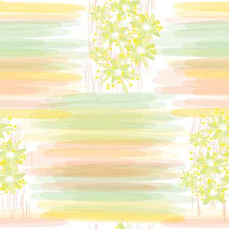 Seamless grunge floral pattern with watercolor stripes Vector