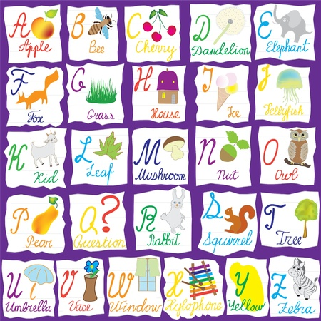 letter alphabet pictures: English alphabet with letters, words and pictures isolated on violet background