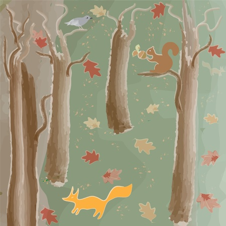 Fantastic autumnal forest with animals Vector