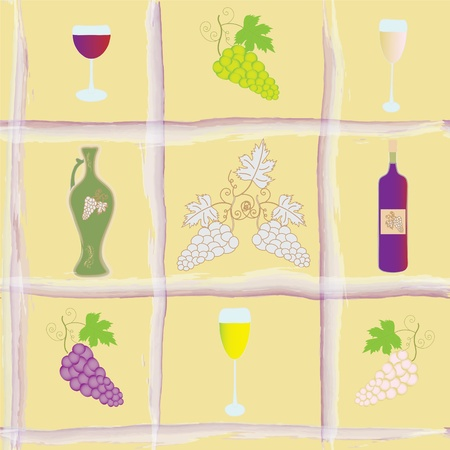 Seamless pattern with grapes,  bottle, goblets and amphora Vector