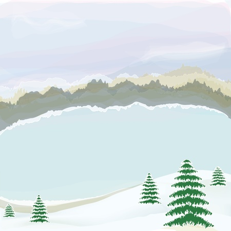 Winter landscape with lake,cloudy sky,snow, coniferous trees,horizon and forest in watercolor design Vector