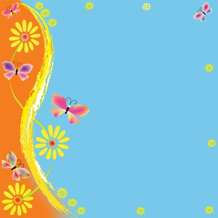 butterfly border: Cartoon childish greeting card