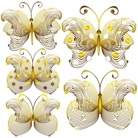 Goldish delicate butterflies isolated on white background Vector
