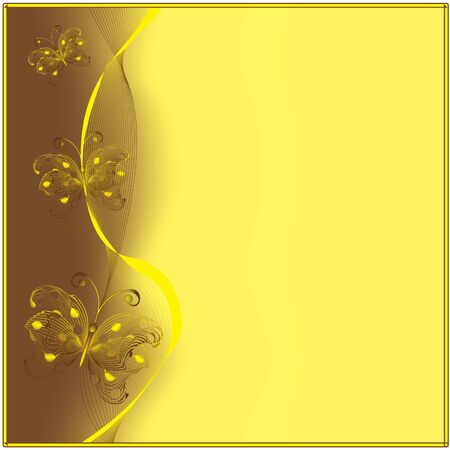 goldish: Invitational card with goldish butterflies Illustration