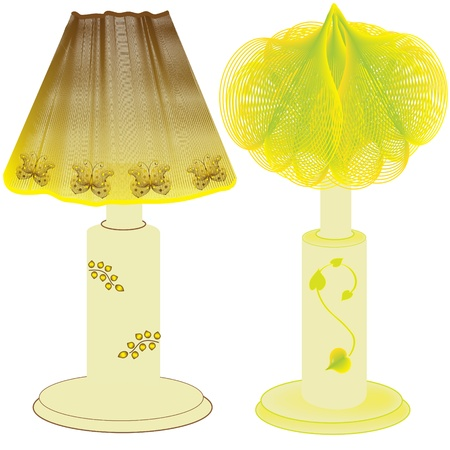 meshy:  Domestic table lamps with decorated lampshades Illustration