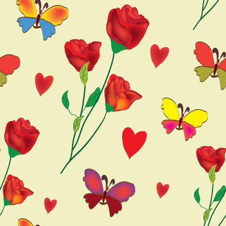 Seamless floral composition with rose , butterflies and hearts Vector