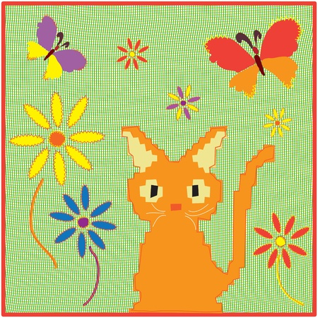 Childish cartoon applique fabric card with kitten ,butterflies and flowers Vector