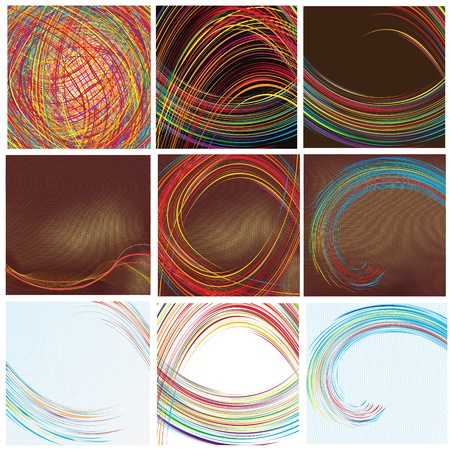 Wavy , grid and striped technical backgrounds Vector
