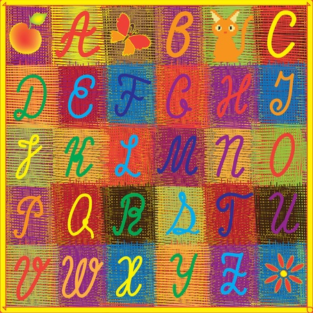 English alphabet for children on colorful quilt background Vector