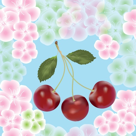 Cherry berry and flowers seamless composition Vector