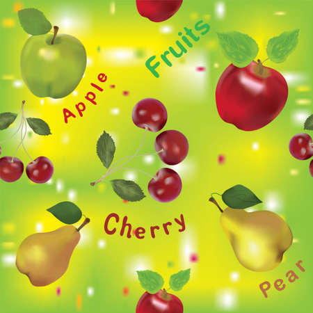 Seamless fruits composition with apples, pears and cherry Vector