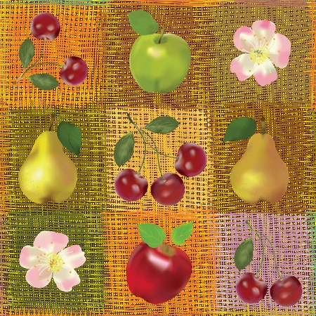 Composition du fruit en toute transparence sur fond rayé coloré Banque d'images - 12369041