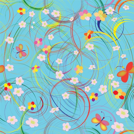 Seamless grunge pattern with rainbow circles, flowers and butterflies Vector