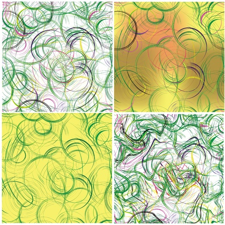 Set of grunge seamless patterns with circles and stripes Stock Vector - 12871160