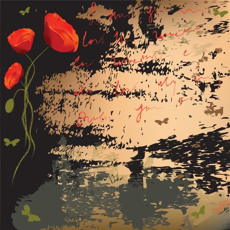 Grunge background with abstract poppies,butterflies and splatter Vector