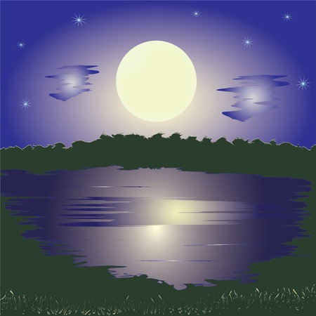 Landscape with lake, full moon, sky, stars and forest Vector