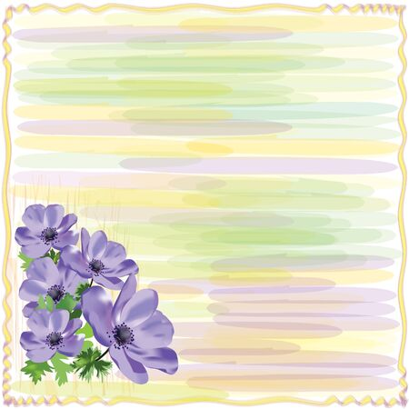 anemones: Greeting striped floral card with anemone in watercolor design Illustration