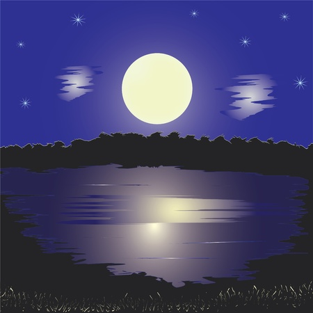 Night landscape with lake, full moon,stars, reflection on water and forest Vector
