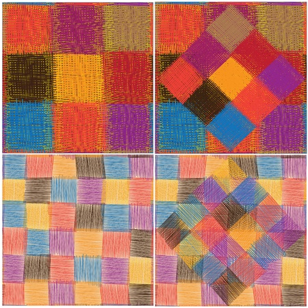 homespun: Set of four patchwork quilted seamless patterns
