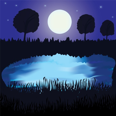Night landscape with lake, full moon,reflection on water,forest Vector