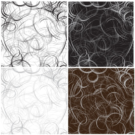 monochromic: Set of four grunge  seamless pattern with monochromic circles Illustration